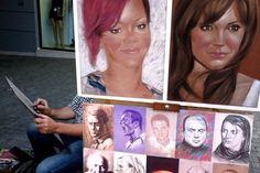 Artist drawing a portrait.