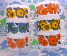 6 Arcopal 1970s Flowery Espresso Cups | eBay