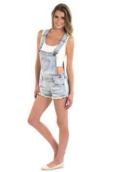 Jonni Shorts Overall - Light Wash | FoxyLux