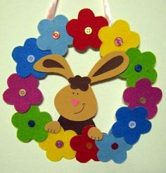 Easter wreath craft ideas We prepared a funny story and easy Easter wreath craft ideas for you lets check! Read the story then select your Easter wreath activity. Foam Crafts, Craft Stick Crafts, Diy And Crafts, Paper Crafts, Craft Ideas, Spring Crafts For Kids, Spring Projects, Diy Spring Wreath, Decorate Notebook