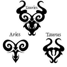 black aries taurus zodiac tribal symbol