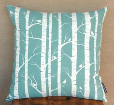 Set of 2 Handprinted Birch Forest Cushion Covers in Robins Egg (Pillow Covers)… Cushion Covers, Pillow Covers, Birch Forest, Birch Trees, Accent Pillows, Throw Pillows, Sofa Throw, Printed Cushions, My Living Room