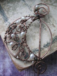Wire Wrapped Lunar Shawl Pin  Scarf Pin Hat Pin  by Lirimaer, $35.00