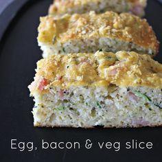 Egg, bacon & veg slice