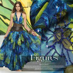 Luxury DIY silk dress embroidered blue printed silk fabric silk fabric wholesale