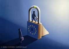 "@Sara Gironi Carnevale - ""Europe's Data Imperialism"" cover illustration for Politico."
