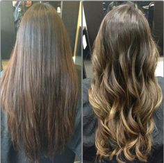 Before and after with Balayage highlights.