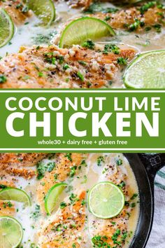 Healthy Recipes Coconut Lime Chicken is dairy free and oh so good. You'll really love this creamy sauce! It's also and gluten free! - Coconut Lime Chicken is dairy free and oh so good. You'll really love this creamy sauce! Chicken Thights Recipes, Chicken Parmesan Recipes, Chicken Salad Recipes, Chicken Recipes Dairy Free, Crockpot Dairy Free, Dairy Free Recipes Healthy, Whole 30 Chicken Recipes, Summer Chicken Recipes, Easy Recipes