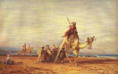 Felix Ziem (1821-1911) Caravane, aquarelle sur papier, 36 x 65 cm-Ziem