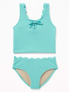 02e5df6a4 Old Navy Girls' Textured Scalloped-Edge Tankini Swim Sets Vermilion Red  Regular Size L
