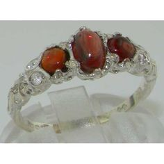 Ladies Solid White 10K Gold Natural Cabochon Garnet English Victorian Trilogy Ring – Size 8 – Finger Sizes 5 to 12 Available – Ideal gift for Valentines, Mothers Day, Birthday, Christmas, Thanksgiving, Graduation, Confirmation, Easter http://www.easterdepot.com/ladies-solid-white-10k-gold-natural-cabochon-garnet-english-victorian-trilogy-ring-size-8-finger-sizes-5-to-12-available-ideal-gift-for-valentines-mothers-day-birthday-christmas-thanksgiving/ #easter  One centre oval cut 6×4 m..