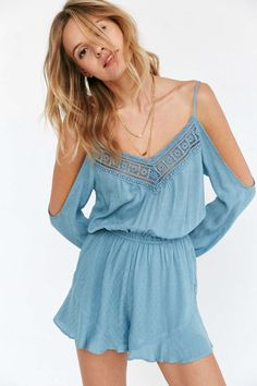 Ecote Floaty Cold Shoulder Romper #UrbanOutfitters