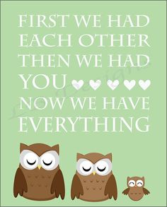 "Owl Nursery sign - how CUTE!  Also see many that say, ""OWL always love you!"" That's cute too!"