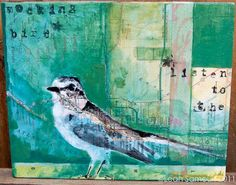 Original Florida Map and Mockingbird Collage on Wood by landoflulu on Etsy