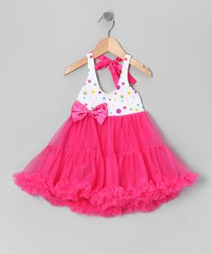 Take a look at this Pink Polka Dot Halter Petti Dress - Infant, Toddler & Girls by Sparkle Adventure on #zulily today!