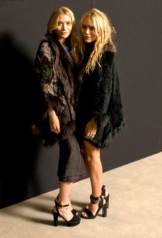 Mary-Kate and Ashley Olsen at Elizabeth & James event, 2011. #Fashion #Fur #Black