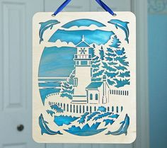 lighthouse themed homemade wooden sign ideas | Stained glass Lighthouse decoration wooden hanging by CardNotions, $28 ...