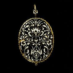 1620: Oval gold miniature case, enamelled in black and white with flowers and pea-pods closely related to a design engraved in 1619 by Jean Toutin I (1578-1644)