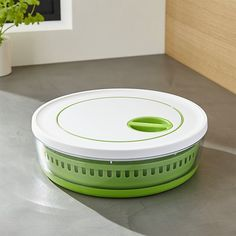 Shop Collapsible Salad Spinner.  This clever design reduces the bulk of the typical salad spinner in a collapsible format that folds down to nearly half its size when not in use.