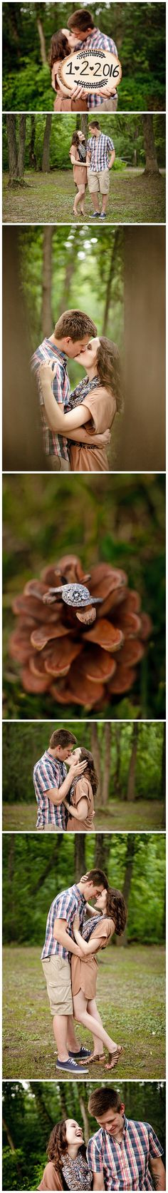 Romantic Forest Engagement Session Pine cone wedding ring save the date woodsy engagement state park