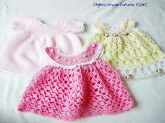 Free Crochet Baby Dress Patterns | CROCHET PATTERNS PATTERN 6 DRESSES BABY GIRL REBORN #20 | eBay