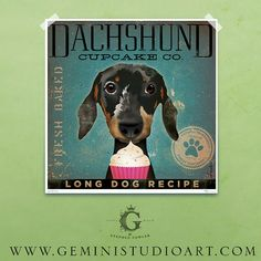 Dachshund Cupcake Company illustration giclee achival signed artist's print by Stephen Fowler