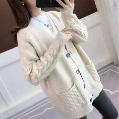Cheap Fashion, Colorful Fashion, Sweater Coats, Sweaters, Cardigans, Cardigan Fashion, Winter Outfits, Winter Clothes, Korean Fashion