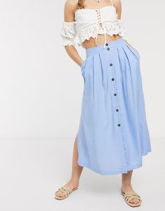 ASOS DESIGN button front midi skirt in blue | ASOS