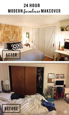 Modern Farmhouse Bedroom Makeover - Learn how to DIY a headboard for $8! Closet Door Makeover. Faux Barn Door.