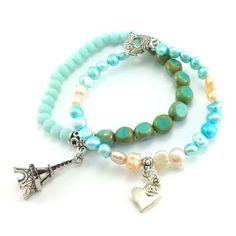 Zestaw bransoletek turkusowe kryształki i perły słodkowodne Beaded Bracelets, Jewelry, Fashion, Jewellery Making, Moda, Jewerly, Jewelery, Fashion Styles, Pearl Bracelets