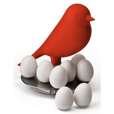 Qualy MAGNETIC EGG SPARROW Red