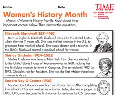 Grade 2 students read and answer questions about three notable women: http://www.timeforkids.com/news/womens-history-month-printables/150071