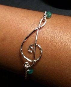 Treble clef bracelet, music note bracelet, sterling silver, handmade treble clef bracelet on Etsy, $24.99