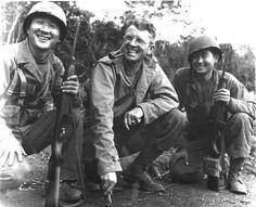 1 May 1944 T/Sgt Herbert Miyasaki, Pa'auile, Hawai'i,(left) and T/Sgt Akiji Yoshima, Colusa, California,  Japanese-American interpreters with Brigadier General Frank Merrill, commander of Infantry troops in Burma, in Noubaum, Burma.
