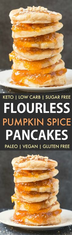 Healthy Flourless Pumpkin Spice Pancakes (Paleo, Vegan, Keto, Low Carb)- Thick, fluffy pancakes made with almond flour and coconut flour- Tested with an eggless and flourless option too- The perfect protein-packed, filling and healthy breakfast! #pumpkinpancakes #ketopancakes #paleopancakes #veganpancakes #keto | Recipe on thebigmansworld.com Pumpkin Spice Pancakes, Paleo Pancakes, Fluffy Pancakes, Ketogenic Diet Food List, Paleo Diet, Gluten Free Breakfasts, Gluten Free Desserts, Coconut Flour, Almond Flour
