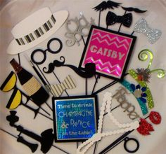 Photo Booth Props 1920s Gatsby Wedding Weddings Parties Flapper Moustaches Lips