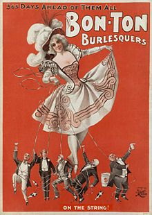 American burlesque is a genre of variety show. Derived from elements of Victorian burlesque, music hall and minstrel shows, burlesque shows in America became popular in the 1860s and evolved to feature ribald comedy (lewd jokes) and female striptease. By the early 20th century, burlesque in America was presented as a populist blend of satire, performance art, music hall and adult entertainment, featuring striptease and broad comedy acts