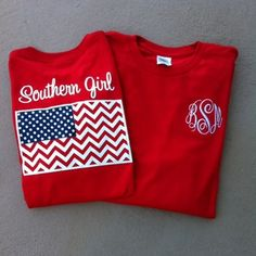 I would love to have this! Monogrammed Southern Girl Chevron Flag Tshirt www.tinytulip.com