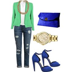 Green blazer with blue and gold accessories
