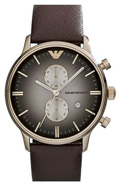 Emporio Armani Chronograph Leather Strap Watch, 43mm available at #Nordstrom