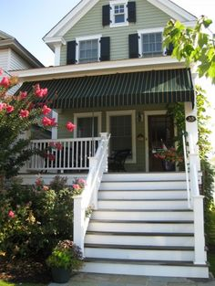 Canopy is a great idea...also love the color of the house and shutters