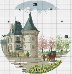 "Photo from album ""часы,вышивание"" on Yandex. Cross Stitch House, Cross Stitch Tree, Beaded Cross Stitch, Cross Stitch Charts, Cross Stitch Designs, Cross Stitch Embroidery, Cross Stitch Patterns, Cross Stitch Numbers, Cross Stitch Landscape"