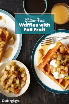 Gluten-Free Waffles with Fall Fruit from Wild Apple Best Waffle Recipe, Waffle Recipes, Brunch Recipes, Breakfast Recipes, Gluten Free Waffles, Too Much Coffee, Meal Prep, Food Prep, Fall Fruits