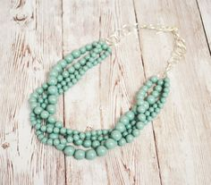 Mint layered pearl necklace for your bridesmaids | http://emmalinebride.com/bride/layered-pearl-necklace-etsy-finds/