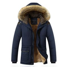 Mens Thick Fleece Warm Hooded Fur Winter Outwear Jacket Outdoor Casual Shoulder Splices Padded Coat - Banggood Mobile
