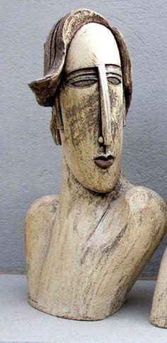 Ceramic Sculpture - Ceramic bust sculpture beautiful man long face