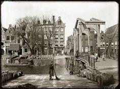 Amsterdam, Nieuwe Teertuinen met Sloterdijkerbrug, 1890. Foto door: Jacob Olie