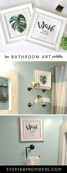 "FREE Bathroom art printable. ""Wash your hands, no seriously"" and tropical island leaf art."
