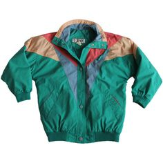 Pastel Windbreaker Jacket 80's 90's Teal Pink Blue Color Block... (225 HRK) ❤ liked on Polyvore featuring outerwear, jackets, tops, coats, wind jacket, blue windbreaker, hipster jackets, wind breaker jacket and vintage jackets
