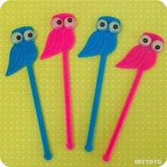 Owl swizzle sticks